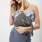 Сумки и аксессуары handmade. Livemaster - original item Bag Crossbody grey suede shoulder bag suede. Handmade.
