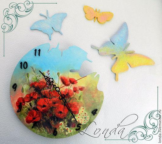 """Часы для дома ручной работы. Ярмарка Мастеров - ручная работа. Купить Часы """"Дуновение ветра"""". Handmade. Деревянные заготовки, бабочки"""