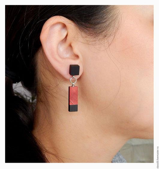 Серьги ручной работы. Ярмарка Мастеров - ручная работа. Купить Яркие прямоугольные серьги.. Handmade. Комбинированный, stud earrings, серьги