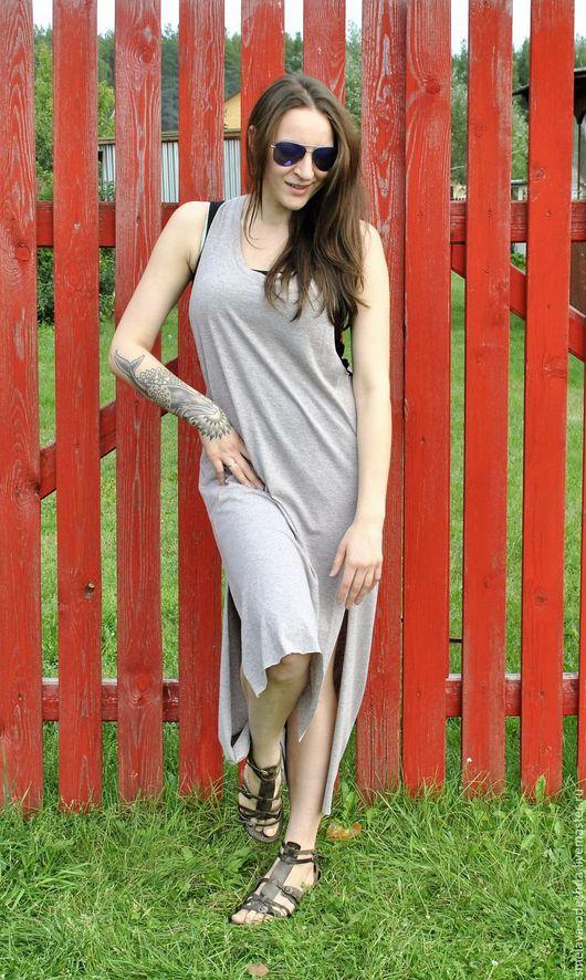 Платья ручной работы. Ярмарка Мастеров - ручная работа. Купить Платье с открытой спиной, платье меланж, одежда оверсайз, двухслойное. Handmade.