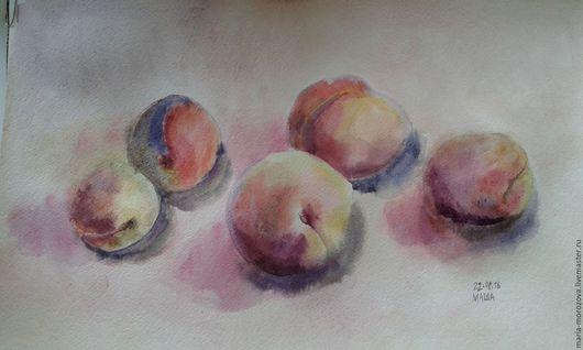"""Натюрморт ручной работы. Ярмарка Мастеров - ручная работа. Купить """"Персики - 2"""", акварель, А3. Handmade. Кремовый, оранжевый, картина"""
