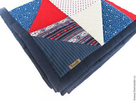 Пледы и одеяла ручной работы. Ярмарка Мастеров - ручная работа. Купить Лоскутное одеяло в английском стиле. Handmade. Тёмно-синий