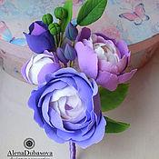 """Свадебный салон ручной работы. Ярмарка Мастеров - ручная работа Бутоньерка ,брошь """"Лилово-фиолетовая"""". Handmade."""