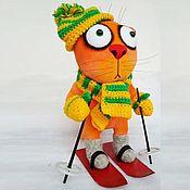 Куклы и игрушки handmade. Livemaster - original item Soft toy red cat skier, plush winter cat. Handmade.
