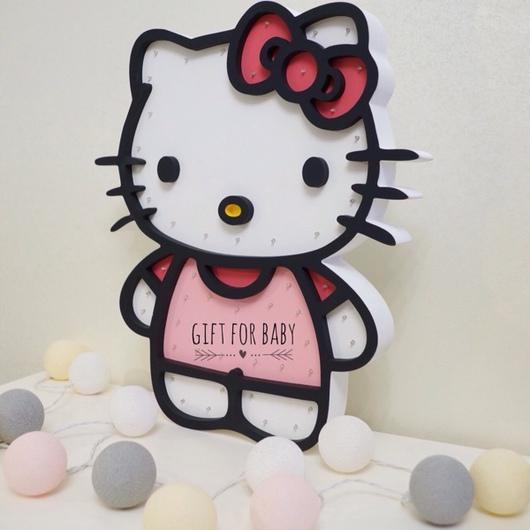 Освещение ручной работы. Ярмарка Мастеров - ручная работа. Купить светильник - ночник Hello Kitty. Handmade. Разноцветный, Hello Kitty