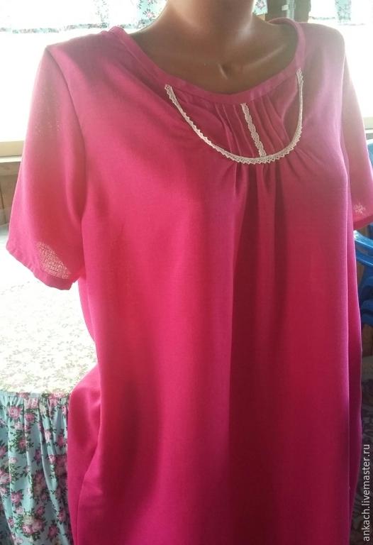 Платья ручной работы. Ярмарка Мастеров - ручная работа. Купить Платье свободного кроя из льна. Handmade. Фуксия, для беременных