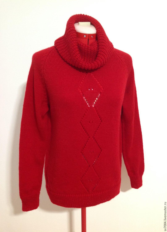 Красный свитер женский