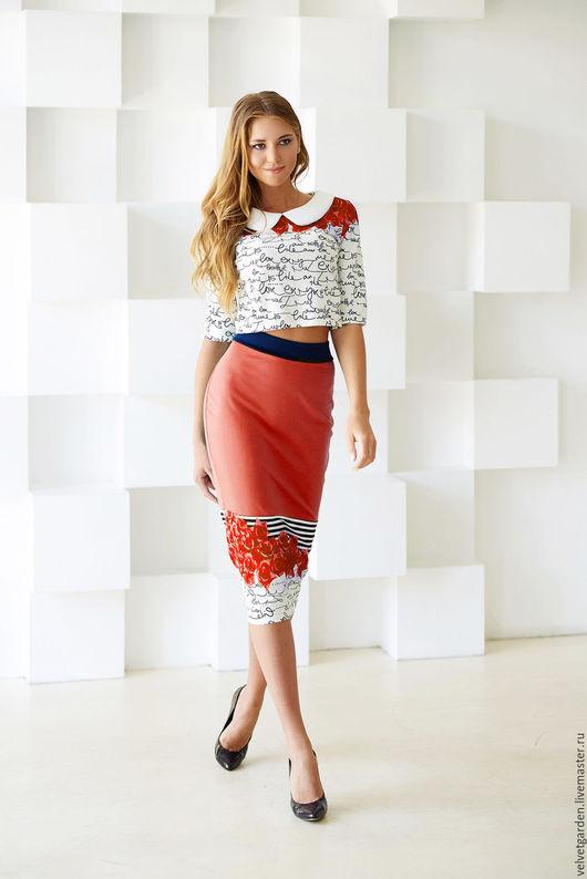 """Блузки ручной работы. Ярмарка Мастеров - ручная работа. Купить Блуза """"морячка"""". Handmade. Бирюзовый, летняя блузка, трикотаж"""