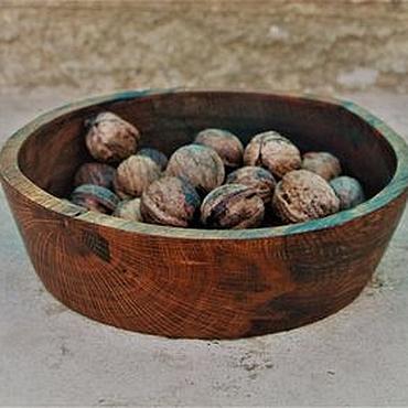 Посуда ручной работы. Ярмарка Мастеров - ручная работа Деревянный салатник  тарелка из дуба рыжего цвета.(21.5х22.5х6.5). Handmade.