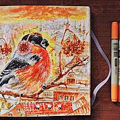 Картины и панно handmade. Livemaster - original item Bullfinches - picture on paper. Handmade.