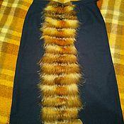 Одежда ручной работы. Ярмарка Мастеров - ручная работа Юбка синяя с отделкой мехом. Handmade.