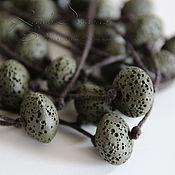 Украшения handmade. Livemaster - original item Dark green bead necklace with volcanic lava beads on the cord khaki military. Handmade.