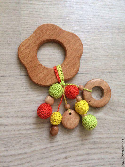 """Развивающие игрушки ручной работы. Ярмарка Мастеров - ручная работа. Купить Грызунок """"Оранжевое солнце"""". Handmade. Комбинированный, можжевеловые бусины"""