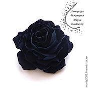 Украшения ручной работы. Ярмарка Мастеров - ручная работа Роза из синей кожи. Handmade.