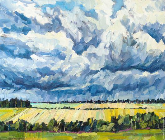 Анна Крюкова impression-живопись Лето картина пейзаж Картина летний пейзаж в интерьер Гроза картина Картина дождь облака