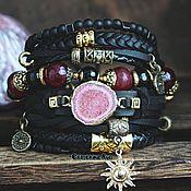 Украшения handmade. Livemaster - original item Leather multi-row bracelet in the style of Boho-chic