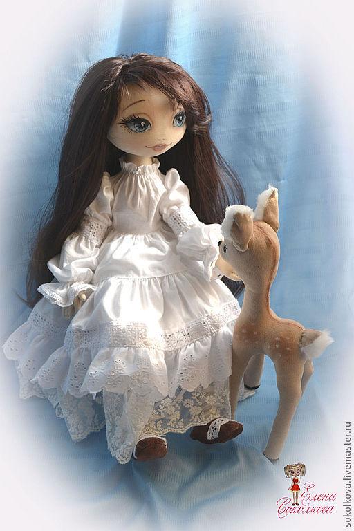 Коллекционные куклы ручной работы. Ярмарка Мастеров - ручная работа. Купить Оленька.. Handmade. Бежевый, текстильная кукла, кружево на сетке