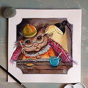 Картины и панно ручной работы. Ярмарка Мастеров - ручная работа Кошачий библиотекарь. Handmade.