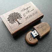 Сувениры и подарки handmade. Livemaster - original item Wooden USB flash drive with engraving up to 32 GB (memory card, souvenir). Handmade.