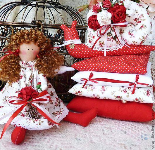 Куклы Тильды ручной работы. Ярмарка Мастеров - ручная работа. Купить Принцесса на горошине в красном с улиткой. Handmade. Тильда