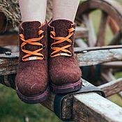 Обувь ручной работы. Ярмарка Мастеров - ручная работа Эко ботинки шерстяные Вишневая Карамель. Handmade.