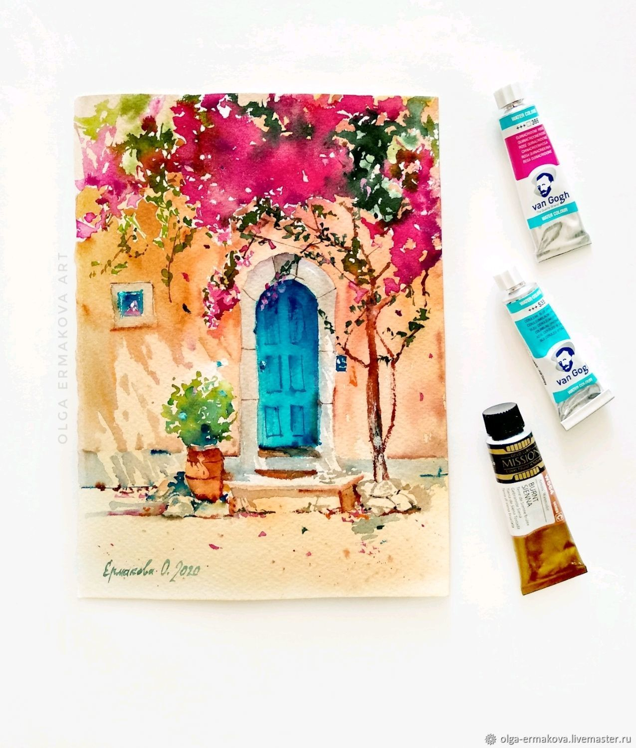 Painting southern house with a door a pot of bougainvillea flowers watercolor, Pictures, Moscow,  Фото №1