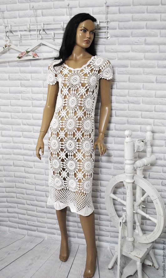 Платья ручной работы. Ярмарка Мастеров - ручная работа. Купить Платье вязаное,крючком. Handmade. Белый, белый цвет