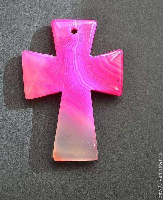 Для украшений ручной работы. Ярмарка Мастеров - ручная работа. Купить Подвеска в виде креста, агат. Handmade. Розовый, крест