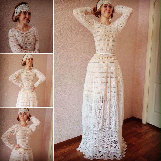 """Платья ручной работы. Ярмарка Мастеров - ручная работа. Купить Платье ручной работы из кид мохера """"Белый лебедь"""". Handmade."""