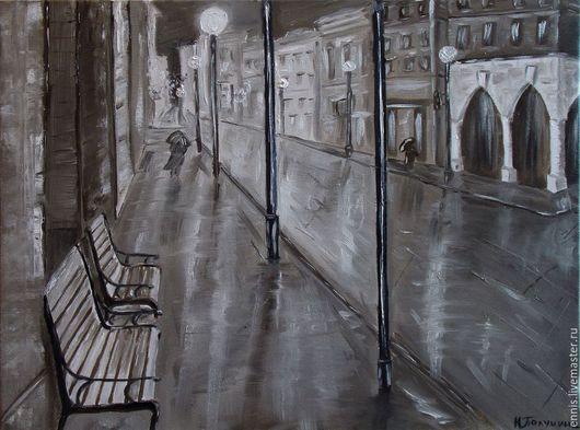 """Город ручной работы. Ярмарка Мастеров - ручная работа. Купить Картина маслом """"Ночной дождь"""". Handmade. Чёрно-белый"""
