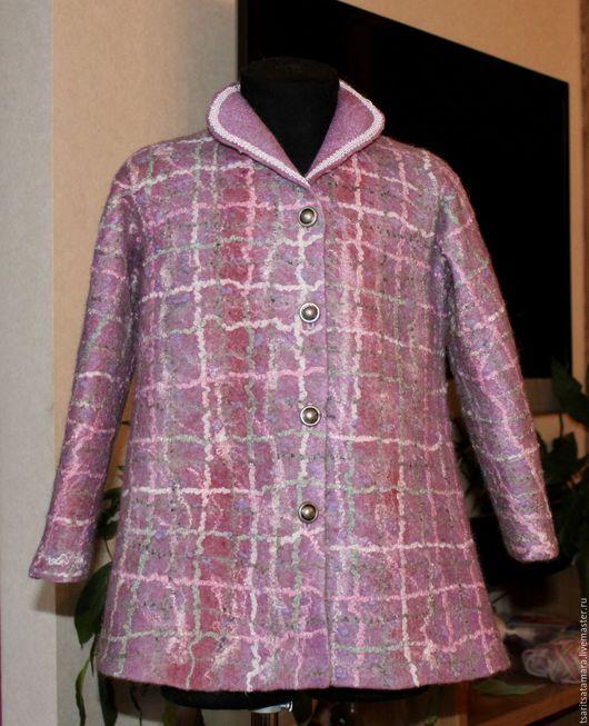 Одежда для девочек, ручной работы. Ярмарка Мастеров - ручная работа. Купить Пальто аля Шанель. Handmade. Сиреневый, валяное пальто