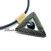 "Украшения handmade. Livemaster - original item Beaded pendant ""Fiona"" (black+gold). Handmade."