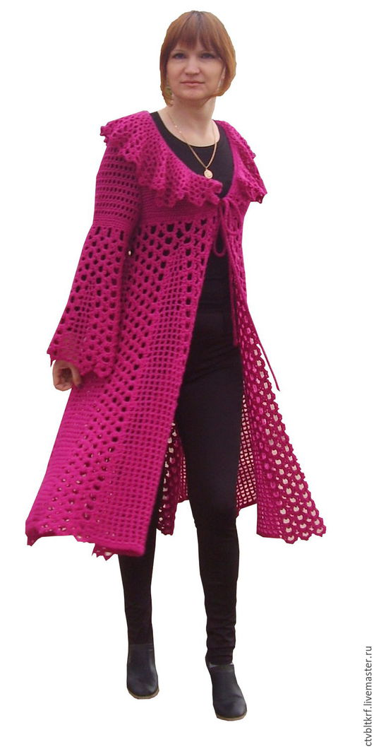 Верхняя одежда ручной работы. Ярмарка Мастеров - ручная работа. Купить Вязаное крючком пальто «Дамские радости». Handmade.