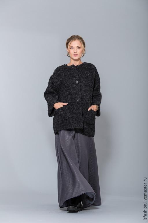 Верхняя одежда ручной работы. Ярмарка Мастеров - ручная работа. Купить Пальто 1525E-темно-серый. Handmade. Темно-серый