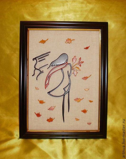 """Люди, ручной работы. Ярмарка Мастеров - ручная работа. Купить Деревянная картина """"Осень"""". Handmade. Черный, желтый, девушка, букет"""