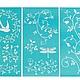 арт 32264  Трафареты на клейкой основе MSC, Plaid, Завитки, 3 шт.  арт 264    НЕТ В НАЛИЧИИ