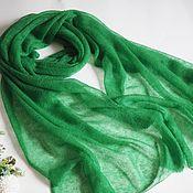 Аксессуары handmade. Livemaster - original item Stole scarf knitted from kid mohair bright green scarf stole. Handmade.