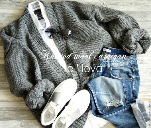 Кофты и свитера ручной работы. Ярмарка Мастеров - ручная работа. Купить Кардиган-оверсайз из толстой шерстяной пряжи. Handmade.