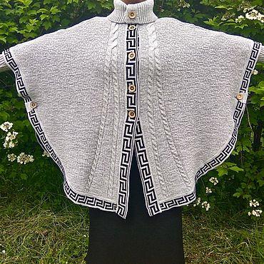 Одежда ручной работы. Ярмарка Мастеров - ручная работа Серое женское пончо с рукавами. Handmade.