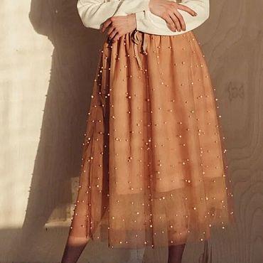 Одежда ручной работы. Ярмарка Мастеров - ручная работа Юбка женская - миди с бусинами. Handmade.