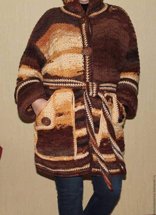 """Верхняя одежда ручной работы. Ярмарка Мастеров - ручная работа. Купить Вязаный кардиган-пальто """"Все оттенки шоколада"""". Handmade."""