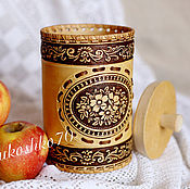 Для дома и интерьера handmade. Livemaster - original item Birch bark basket Flowers. Jar for storing tea, sugar, spices. Handmade.