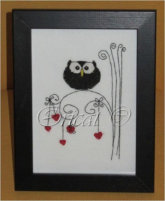 Подарки для влюбленных ручной работы. Ярмарка Мастеров - ручная работа. Купить Влюблённая сова. Handmade. Сова, подарок, чёрно-белый