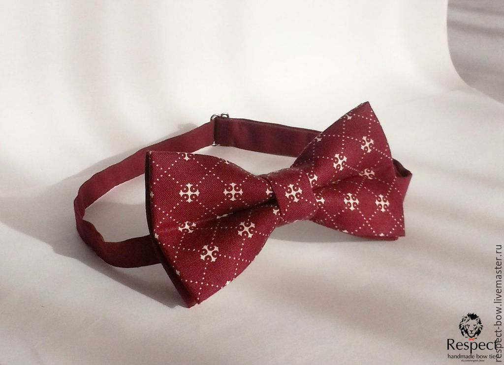 Tie Valor / Burgundy butterfly tie pattern, crosses, Ties, Moscow,  Фото №1