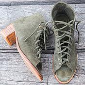 Обувь ручной работы handmade. Livemaster - original item Boots made of suede on the heel Lima. Women`s boots for spring. Handmade.