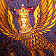 Batik panels `bird of Paradise Sirin`  Buy panels of batik. Batik panels for the interior. Painting on silk. Olga Pastukhova.