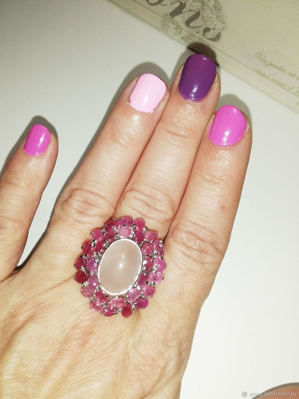 Кольцо с натуральным рубином и розовым кварцем серебро 925, Кольца, Москва,  Фото №1