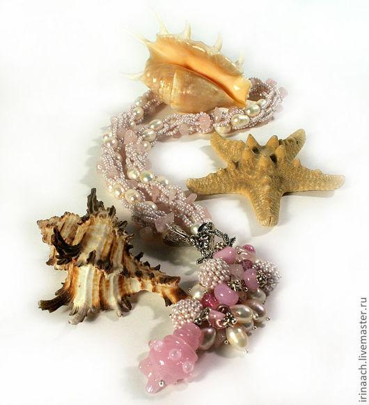 Колье, бусы ручной работы. Ярмарка Мастеров - ручная работа. Купить Розовые сны о море. Handmade. Розовый, чешский бисер
