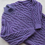 Работы для детей, ручной работы. Ярмарка Мастеров - ручная работа Фиолетовый свитер из мериноса. Handmade.