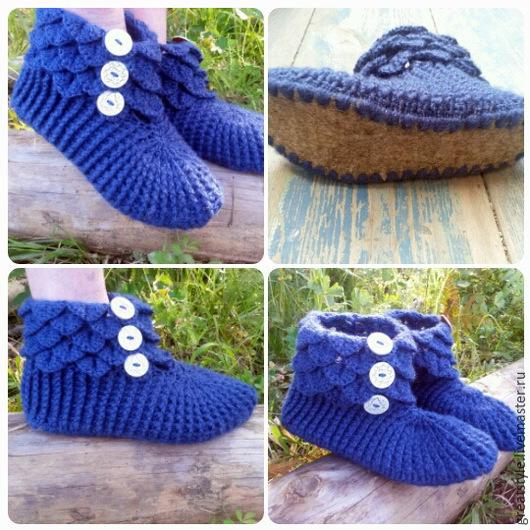 Обувь ручной работы. Ярмарка Мастеров - ручная работа. Купить Вязаные тапочки на флисовой подошве. Handmade. Тёмно-синий
